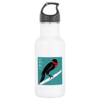 Black Bird With A Bow 18oz Water Bottle