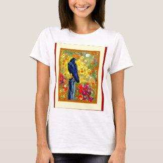 Black Birdon Post in Garden by sharles T-Shirt