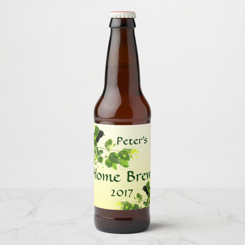 Black Birds in Green Leaves Yellow Beer Label