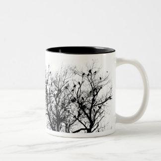 Black Birds in trees Two-Tone Coffee Mug