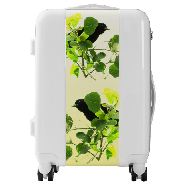 Black Birds on Green Leaves Yellow Luggage