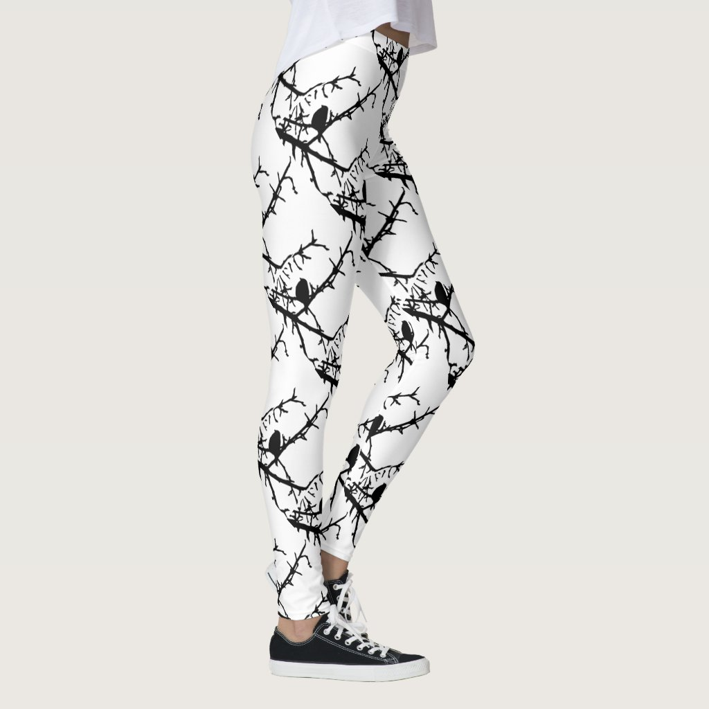 Black Birds on Tree Branch Abstract Leggings