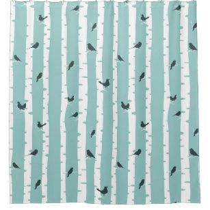 Black Birds On White Birch Trees Shower Curtain