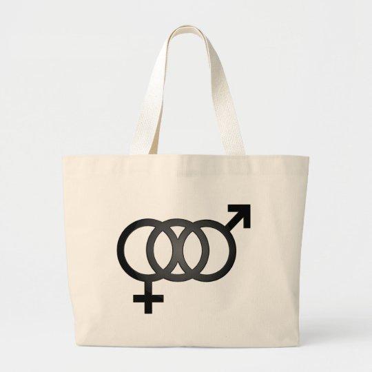 Black Bisexual Symbol Large Tote Bag