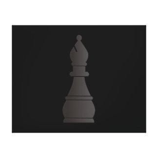 Black bishop chess piece canvas print