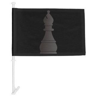 Black bishop chess piece car flag