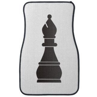 Black bishop chess piece car floor mat