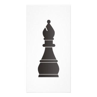 Black bishop chess piece card