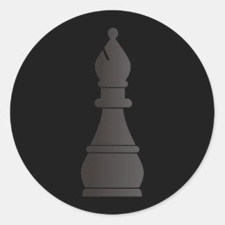 Black bishop chess piece classic round sticker