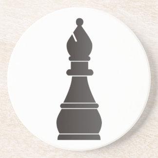 Black bishop chess piece coaster