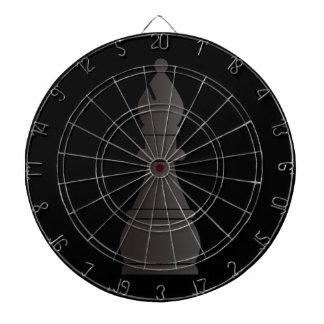 Black bishop chess piece dartboard with darts