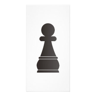 Black bishop chess piece personalized photo card
