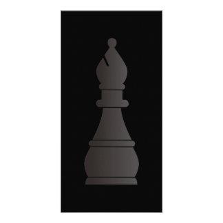 Black bishop chess piece photo card