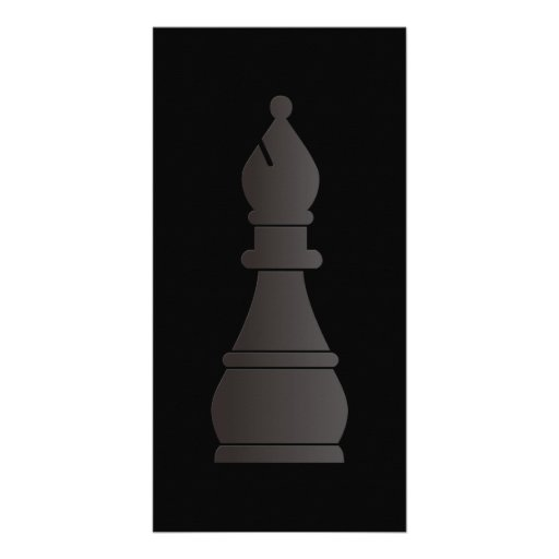 Black bishop chess piece picture card