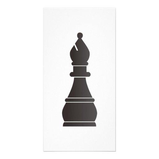 Black bishop chess piece photo greeting card