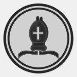 Black Bishop Chess Piece Round Stickers
