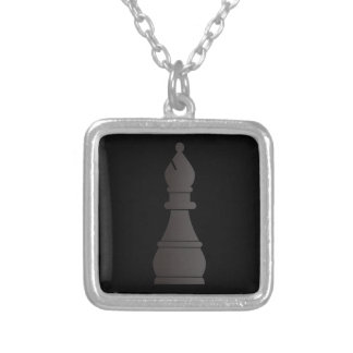 Black bishop chess piece silver plated necklace