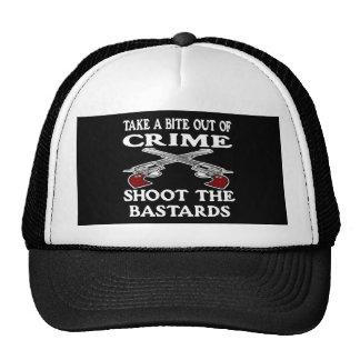 Black Bite Out Crime Bastards Trucker Hat