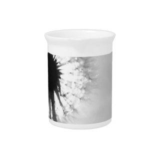 Black blank dandelion Black and White Dandelion Beverage Pitcher