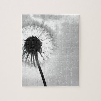 Black blank dandelion Black and White Dandelion Jigsaw Puzzle