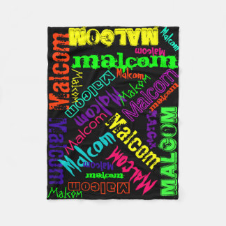 Black Blanket Colorful Bright Neon Name Collage Fleece Blanket