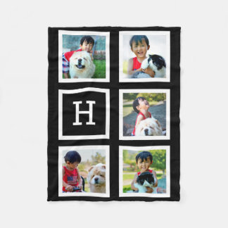 Black Block Personalized Photo Collage Monogrammed Fleece Blanket