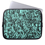 Black & Blue Abstract Swirl Laptop Computer Sleeves