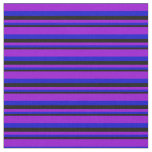 [ Thumbnail: Black, Blue, and Dark Violet Lines Pattern Fabric ]