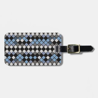 Black, Blue and Gray Diamond Tile Pattern Tag For Luggage