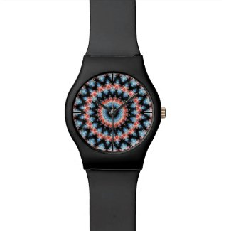 Black, blue and red Mandala Star Wrist Watch