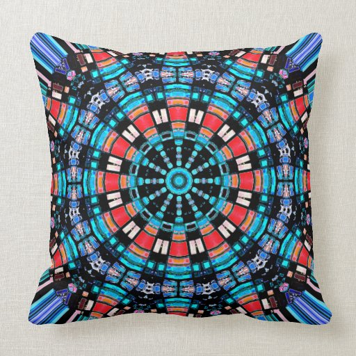Black Blue And Red Mandala Throw Pillow Zazzle