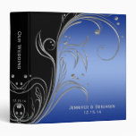 Black Blue and Silver Floral Scrolls Photo Album 3 Ring Binder