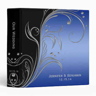 Black Blue and Silver Floral Scrolls Photo Album Binders