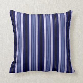 Black, Blue and White Striped Throw Pillow