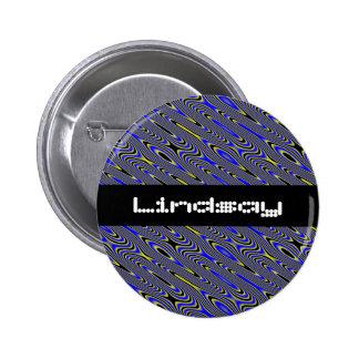 Black blue and yellow Swirlies Pattern Custom Name Pinback Button