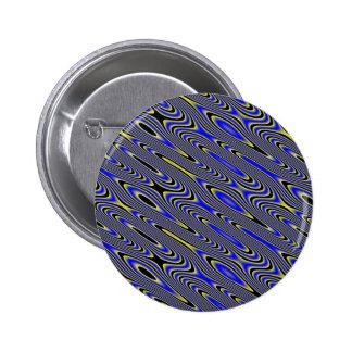 Black blue and Yellow Swirly Pattern Button