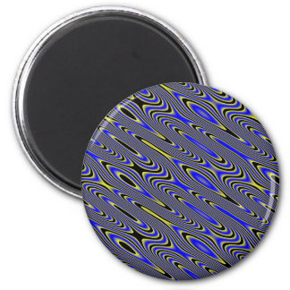 Black blue and Yellow Swirly Pattern Magnet