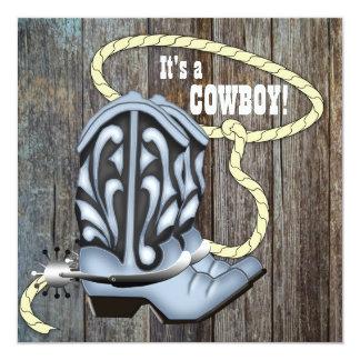 Black Blue Barn Wood Cowboy Baby Shower Card