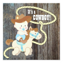Black Blue Barn Wood Cowboy Baby Shower Card