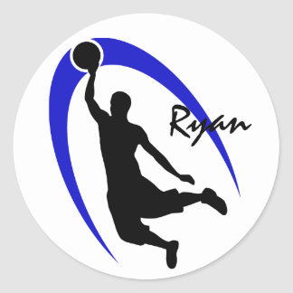 Black Blue Basketball Personalized Round Stickers
