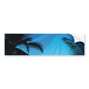 Beach Themed BLACK BLUE BEACH PARTY DANCING MUSIC PALM TREES FU BUMPER STICKER