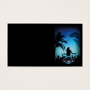 Beach Themed BLACK BLUE BEACH PARTY DANCING MUSIC PALM TREES FU BUSINESS CARD