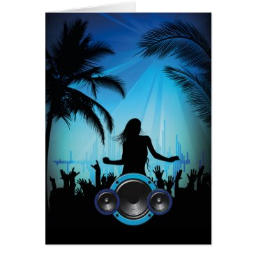 Beach Themed BLACK BLUE BEACH PARTY DANCING MUSIC PALM TREES FU CARD