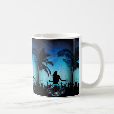 Beach Themed BLACK BLUE BEACH PARTY DANCING MUSIC PALM TREES FU COFFEE MUG