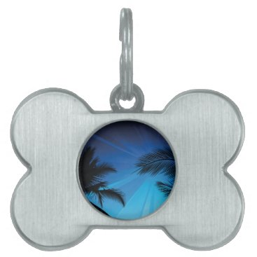 Beach Themed BLACK BLUE BEACH PARTY DANCING MUSIC PALM TREES FU PET NAME TAG