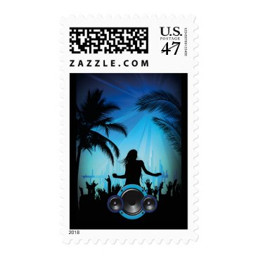 Beach Themed BLACK BLUE BEACH PARTY DANCING MUSIC PALM TREES FU POSTAGE