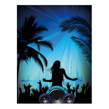 Beach Themed BLACK BLUE BEACH PARTY DANCING MUSIC PALM TREES FU POSTCARD