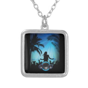 Beach Themed BLACK BLUE BEACH PARTY DANCING MUSIC PALM TREES FU SILVER PLATED NECKLACE