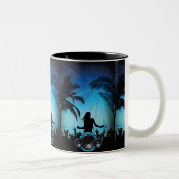 Beach Themed BLACK BLUE BEACH PARTY DANCING MUSIC PALM TREES FU Two-Tone COFFEE MUG