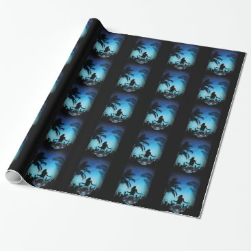 Beach Themed BLACK BLUE BEACH PARTY DANCING MUSIC PALM TREES FU WRAPPING PAPER